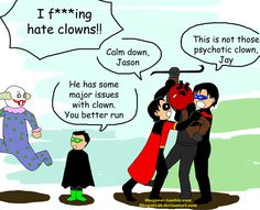 "A humorous request from a friend. She wanted a ""yaoi""-ish moment between Red X and Robin from Teen Titans and yes I think Red X is Jason Todd. Robin, Red X, Teen Titans (C) DC comics"