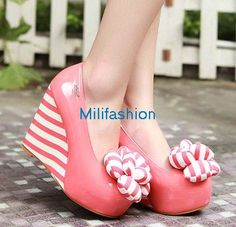 Pink wedge lovely and flower lovely shoes_Wedge Shoes_Fashion shoes_Mili fashion Trade Co.Ltd