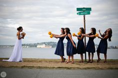 bride and bridesmaids alki beach seattle