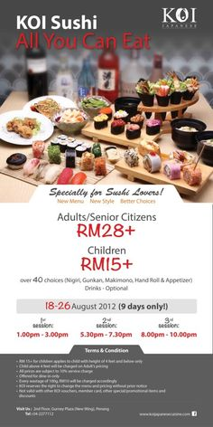 Embrace yourself this Raya ;) KOI Sushi All You Can Eat....Specially for Sushi Lovers!  New Menu ~ New Style ~ Better Choices . Visit Us: KOI Japanese, 2nd Floor (New Wing) . Reservation: 2277112