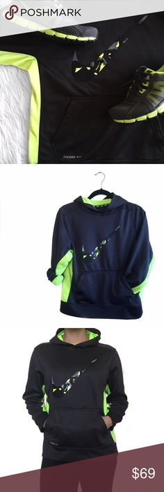 • Nike • Electric Green Hoodie Electric green and dark gray Nike hoodie. Tag says large. This is a kids large and a women's small. Shoes available. ❗️Bundle for savings❗️ Nike Tops Sweatshirts & Hoodies
