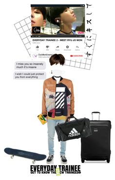 """""""«EVERYDAY TRAINEE 2 - RYU JO WON INTRO»"""" by cw-entertainment ❤ liked on Polyvore featuring Wrangler, Off-White, Express, Tumi, adidas, Heidi Daus and WithChic"""