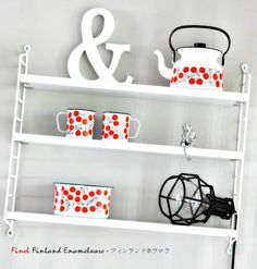 Finel Enamelware Kirsikka - Cherry - Finel Finland Enamelware Nordic Design, Finland, Cherry, Shelves, Home Decor, Shelving, Homemade Home Decor, Shelf, Prunus