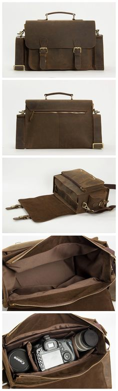 Dark Brown Leather Messenger Bag for Photographers, Travelers & Diaper Bag for Mother