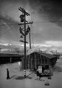 ansel adams manzanar | Ansel Adams - Line crew at work in Manzanar➕✖️More Pins Like This At FOSTERGINGER @ Pinterest➕✖️
