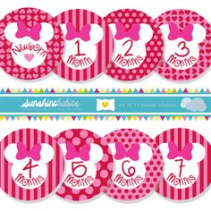 Monthly Baby Onesie Stickers for Girls  Minnie by SunshineBabiesCo, $9.99