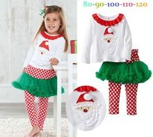 Christmas Costumes Girls Kids Holiday Clothes Set Baby Santa T Shirt +Tutu Leggings Children's Suits Outfit(China (Mainland))