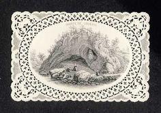 Image pieuse dentelle canivet: Grotte de Lourdes. Rare (105750)