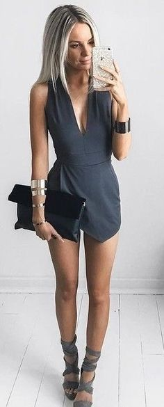 Gray romper & lace up heels.