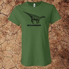 Women's Iguanodon T-Shirt for $15 - Printed on 100% cotton Bella t-shirts.  Custom options available at www.myfavoritedinosaur.com