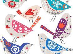 New Folk Bird Illustration Print Patterns Ideas Bird Illustration, Illustrations, Scandinavian Folk Art, Paper Birds, Arte Popular, Bird Drawings, Bird Design, Little Birds, Bird Art