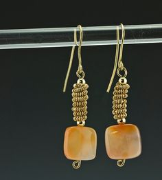 Coiled Gold & Agate Earrings by DianaKirkpatrickArt on Etsy, $22.00