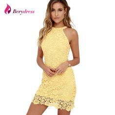 b1a64c20eb9bd Berydress Womens Elegant Wedding Party Sexy Night Club Halter Neck  Sleeveless Sheath Bodycon Lace Dress Short-in Dresses from Women s Clothing    Accessories ...