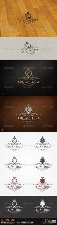 Crown Logo TemplateOverview: CMYK Color, 100 vector Editable & Re-sizable file in these file formats [EPS, AI, CDR] Easy to chan Mobile App Templates, Logo Templates, Three Letter Logos, Library Logo, Crest Logo, Education Logo, Logo Restaurant, Text Color, Cool Logo