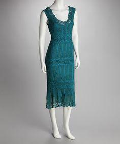 Teal Crocheted Scoop Neck Dress Not a pattern, just an idea.