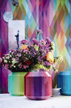 Trend: The 2016 home is an explosion of colours   the January edition of Homi 2016 draws from the whole colour palette and gives us rainbow coloured vases, jazzy textiles and vibrant table accessories.   #homi2016 #design #homedecor   Rosenthal, Hot Spots  