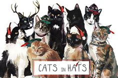 Cats in Hats Watercolor Clipart Set by whiteheartdesign on @creativemarket