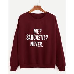 SheIn(sheinside) Burgundy Drop Shoulder Letters Print Sweatshirt (150 SEK) ❤ liked on Polyvore featuring tops, hoodies, sweatshirts, burgundy, long sleeve pullover, red top, round neck top, red long sleeve top and pullover sweatshirt