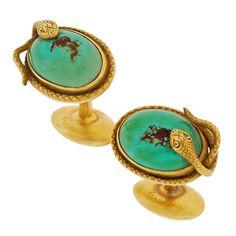Art Nouveau Snake Turquoise & Gold Cufflinks image 2