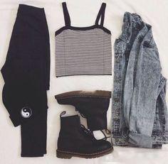 grunge style--- inspiration -  cropped top  #grunge fashion,  stripe -  #acid,  #denim jacket