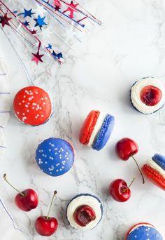 Red, White, and Blue Cherry Cheesecake Macarons