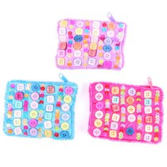 Show details for Embroidered Sequin Bead & Button Coin Purse