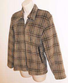 Vtg Patagonia Synchilla Fleece Jacket S Womens Small Brown Plaid Coat USA #Patagonia #PatagoniaSynchilla #PatagoniaFleece