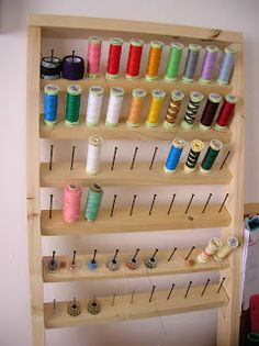 New sewing room decorations thread holder ideas Thread Storage, Ribbon Storage, Sewing Room Organization, Sewing Room Decor, Sewing Rooms, Thread Holder, Techniques Couture, Sewing Studio, Space Crafts
