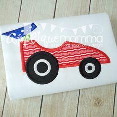 free embroidery machine  racing car appliqué