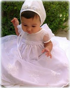 Organza Baptism Dress w. Floral Embroidered Skirt & Pearl Encrusted Pin Infant Girls *