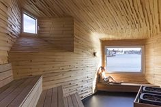 Berlin-based architecture office Raumlabor built an unconventionally designed public sauna in the Frihamnen port of the Swedish city Gothenburg. From the outside, the building has an. Saunas, Sauna Design, Community Space, Interior Architecture, Bathing, The Neighbourhood, Building, Gothenburg Sweden, Spaces