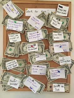 "Work for Hire Idea.""Aside from my kiddos regular (not paid)chores, this is how they earn extra spending money. I just reloaded the board, and my son is already vacuuming."" Idea from Sandra Stock Kids And Parenting, Parenting Hacks, Parenting Classes, Parenting Goals, Foster Parenting, Chore Board, Work For Hire, Future Mom, Baby Kind"