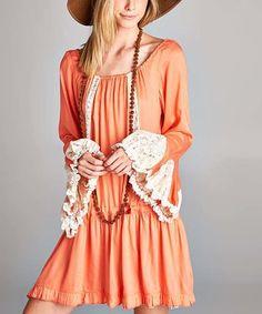 Love this Orange Lace-Sleeve Scoop-Neck Tunic Dress - Plus on #zulily! #zulilyfinds