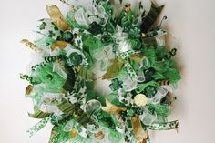 Excited to share the latest addition to my #etsy shop: St. Patrick's Day Wreath, Deco Mesh, St. Pat, Green, Gold, White, Home Decor, Shamrock, St. Patrick's Day, Wreath, Green & Gold