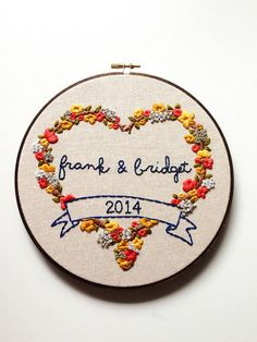 Floral Heart Anniversary Embroidery Hoop Art