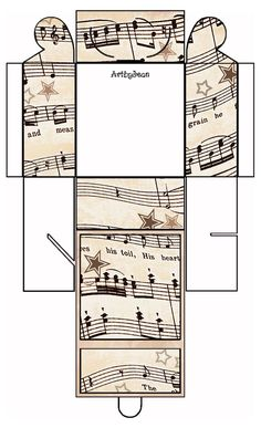 artbyjean clipart pillow box | ... - Vintage Sheet Music Free Clipart Biege Tan - Printable Gift Boxes