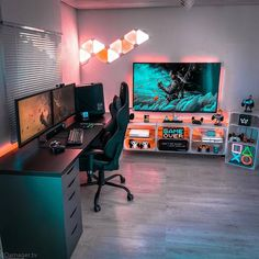 Computer Gaming Room, Gaming Room Setup, Gaming Rooms, Pc Setup, Home Office Setup, Home Office Design, Small Game Rooms, Bedroom Setup, Bedroom Ideas