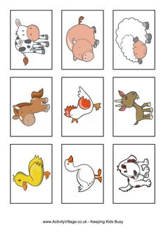Farm animal snap cards