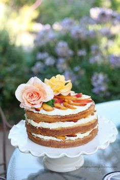 Amaretto Soaked Peach Triple Layer Cake i need to do this.also must find that cake plate Pretty Cakes, Beautiful Cakes, Amazing Cakes, Cupcakes, Cupcake Cakes, Just Desserts, Delicious Desserts, Cake Recipes, Dessert Recipes