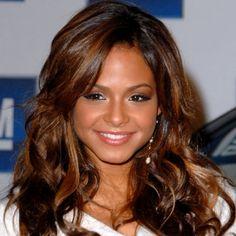 Long layered hairstyle Dark Auburn Hair Color with Caramel Highlights
