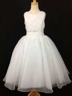 Christie Helene First Communion Dress Ruched & Crystal Beaded - White