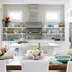 decorating with white living spaces interiors in kitchen and dining room