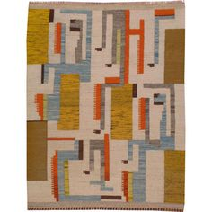 Swedish Kilim | From a unique collection of antique and modern more carpets at http://www.1stdibs.com/furniture/rugs-carpets/area-rugs-carpets/