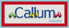 Automobile cross stitch name sampler