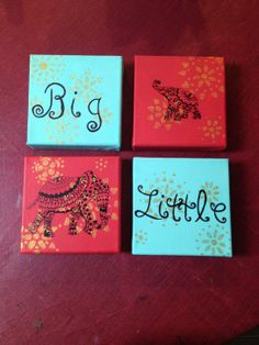 This would be perfect for my little and I. DIY Big/Little Elephant canvases Delta Phi Epsilon, Phi Sigma Sigma, Kappa Alpha Theta, Alpha Chi, Phi Mu, Big Little Week, Big Little Gifts, Big Little Canvas, Canvas Art Projects