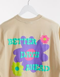 ASOS DESIGN oversized t-shirt with front chest & back 'brighter days ahead' puff print | ASOS T Shirt Printing Design, Shirt Print Design, Tee Design, Design Kaos, Cute Shirt Designs, Decoration Plante, Aesthetic Shirts, Paragraph, Teen Fashion Outfits