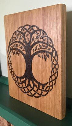 Celtic Tree of Life Wood Burning With Leaves Pyrography Art