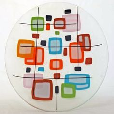 A pretty fused glass bowl with a geometric pattern would look neat on my midcentury modern coffee table. [from Sundancers Studio on etsy.com] #TheNest #ultimatelivingroom