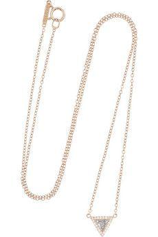 Jennifer Meyer 18-karat rose gold diamond triangle necklace | NET-A-PORTER