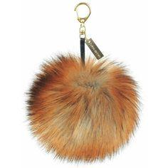 Fox Faux Fur Pom-Pom Key Ring (3.235 RUB) ❤ liked on Polyvore featuring accessories and pom pom key ring